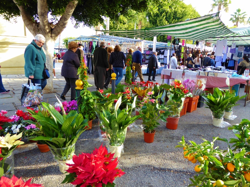 Friday Market Almunecar with plants, clothing, ceramics, spices, nuts, honey, and more.