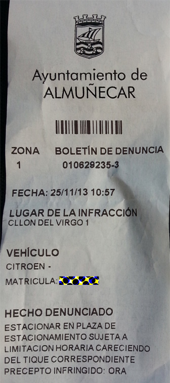 Parking ticket - how to pay parking fine in Almunecar