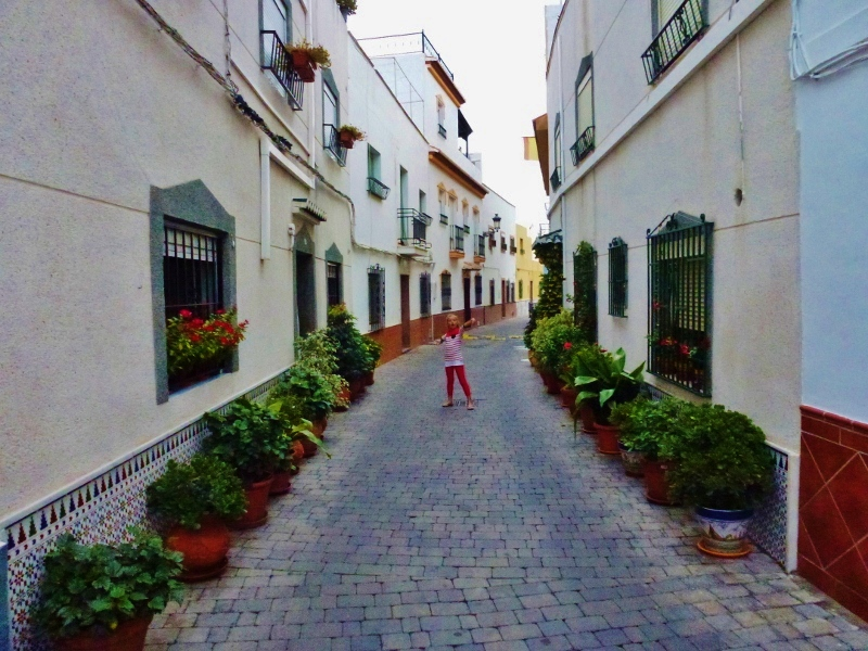 Streets of barrio San Miguel near San Miguel Castle. Narrow cobblestoned street, a flower lined street at the top of old town near castle and cueva 7 museum , great views of mountains, farms and sea.