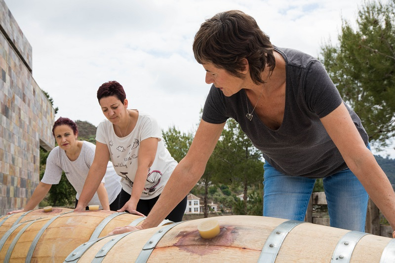 Clara Verheij (front) established her own language school when arriving in Spain. From 2003 she has been a winemaker, doing things in her own way, without having a professional education in wine.