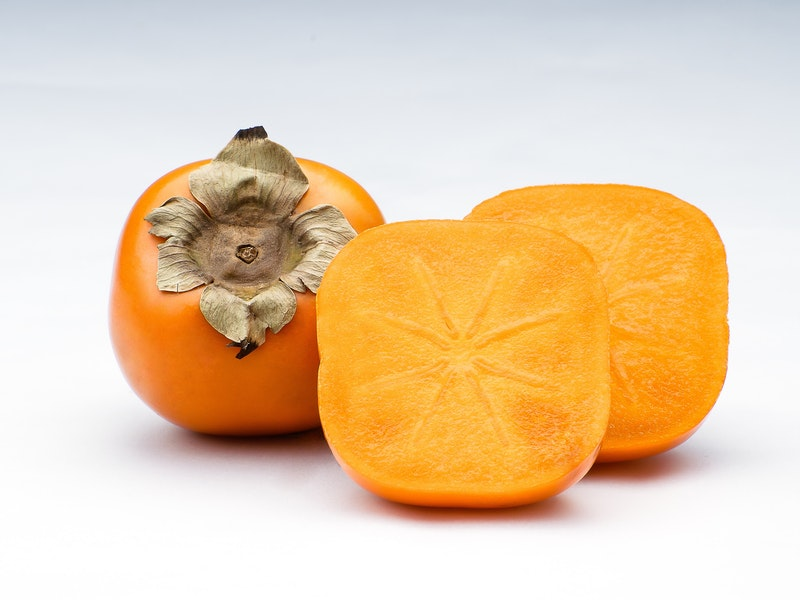 The persimmon is a sweet, slightly tangy fruit with a soft to occasionally fibrous texture. They are full of antioxidants and can be very beneficial to your immune system. The main season is in the Autumn.