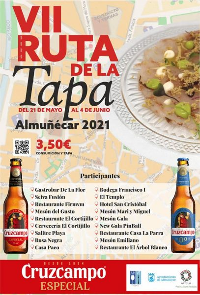 Here is the list of the 18 participating restaurants for 2021, as released by the Ayuntamiento. Get your tapas passport stamped and head out on the Almuñécar Ruta de la Tapa! Each spring you can expect wonderful tapas and a fun experience. Read more on Almunecarinfo.com