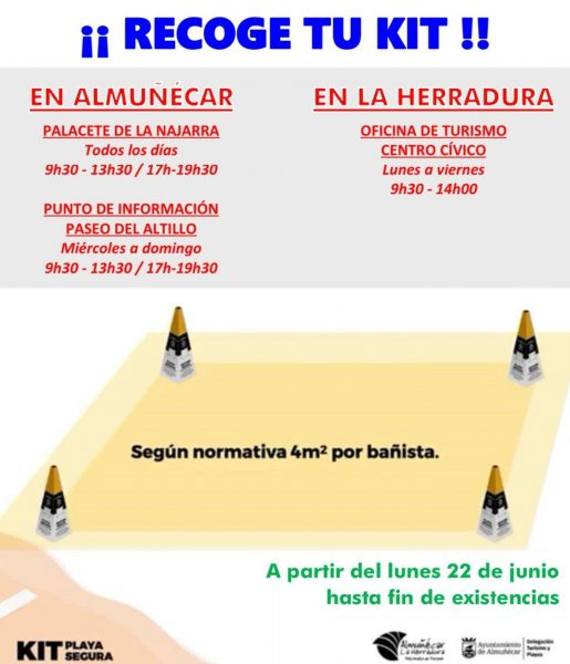 Pick up your PLAYA SEGURA KIT (Beach safety kit) at our Almuñecar and La Herradura tourist offices.
