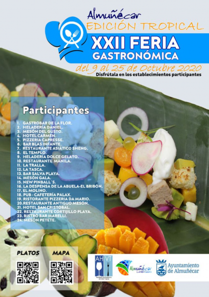 Every year Almuñécar holds a foodie event called the Feria Gastronomica. Be prepared to sample the delicious food from each of the participating restaurants. This year the theme is all about the local fruits; mango, chirimoya and avocado! October 9-25, 2020