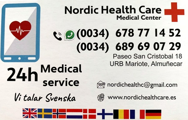 Nordic Health Care medical center Almunecar. Offering a clinic on Paseo San Cristobal, as well as house calls and urgent services 24 hrs, 365 days a year. Read more on Almunecarinfo.com