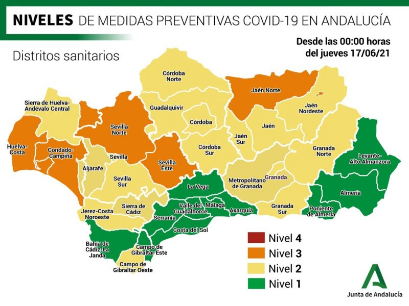 Covid measures for Granada Sur health district at Level 2 as of 17 June, 2021